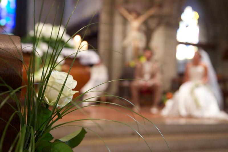 Décoration de mariage, église