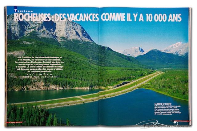 """La Route de l'Ouest, la transcanadienne n°1, traverse d'est en ouest le Canada, depuis la côte est, c'est en arrivant en Alberta que se dessine les premiers """"virages""""... Cette photo prise à bord d'un hélicoptère de la  Compagnie CMH HELI-SKIING."""